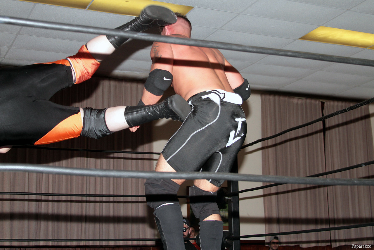 """Tyler Vincent vs. C.J. Scott at the Truly Independent Wrestling (aka TIW Wrestling) """"Snow Brawl"""" event held on January 28, 2017 at the Pilgrim Memorial Church and Parish House in Pittsfield, Massachusetts."""