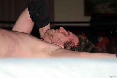"Zane Wolf after his match against Ivan Ali at the Truly Independent Wrestling (aka TIW Wrestling) ""Snow Brawl"" event held on January 28, 2017 at the Pilgrim Memorial Church and Parish House in Pittsfield, Massachusetts."