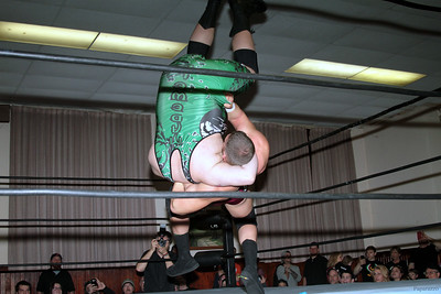 """Zack Clayton vs. Lance Madewell at the Truly Independent Wrestling (aka TIW Wrestling) """"Snow Brawl"""" event held on January 28, 2017 at the Pilgrim Memorial Church and Parish House in Pittsfield, Massachusetts."""