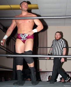 """Zack Clayton at the Truly Independent Wrestling (aka TIW Wrestling) """"Snow Brawl"""" event held on January 28, 2017 at the Pilgrim Memorial Church and Parish House in Pittsfield, Massachusetts."""