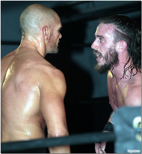 """Martin Stone and JT Dunn at the Xtreme Wrestling Alliance (aka XWA Wrestling) """"Thursday Night Throwdown"""" event held on January 18, 2018 at the XWA Event Center in West Warwick, Rhode Island."""