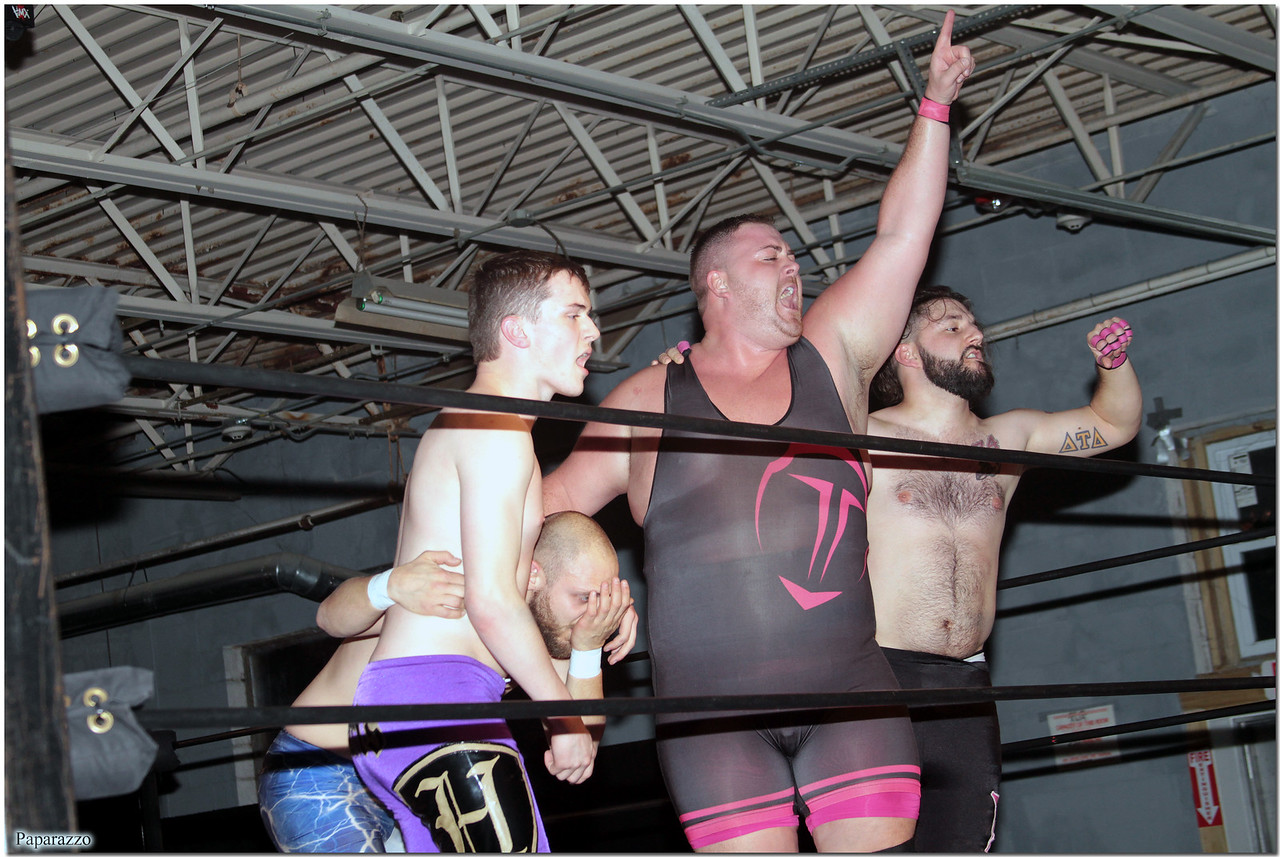 "Todd Harris, Jason Daniels, ""Alpha Male"" David Craig, and Nick Delta celebrate their hard fought victory in the eight-person tag team event at the Xtreme Wrestling Alliance (aka XWA Wrestling) ""Thursday Night Throwdown"" event held on January 18, 2018 at the XWA Event Center in West Warwick, Rhode Island."