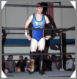 "Joshua Wells of Oreo Speedwagon during the UFO Wrestling ""Monsters Ball"" show held on October 25, 2019 at the Tynan Community Center in South Boston, Massachusetts."