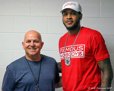 Will Palenscar and Carmello Anthony at the TBT Final in Baltimore MD 8-03-2017