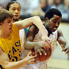 Mitch Secora, left, of Pueblo East, and Wesley Gordon of Sierra, fight for a rebound during the first half of the Colorado 4A State Championship game on March 13, 2010 in Boulder.<br /> <br /> Cliff Grassmick / March 13, 2010