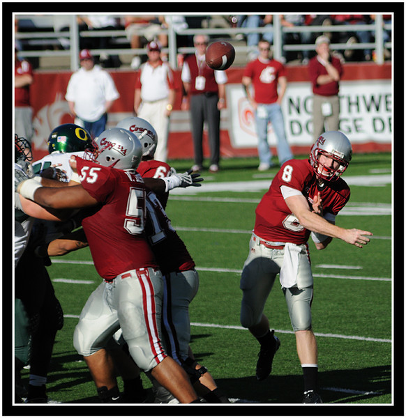 Freshman Cougar Marshall Lobbestael gets plenty of protection from his offensive line