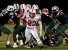 Souderton's Blake Gular squeezes through a very small hole in the line  Friday, Oct. 24, 2014.<br /> Bob Raines/Digital First Media