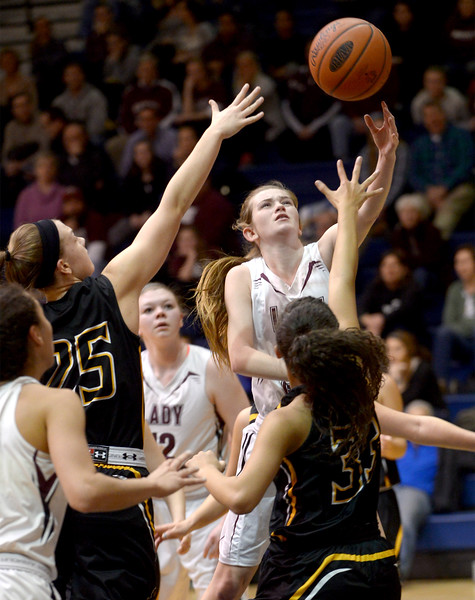 Bob Raines--Montgomery Media<br /> Abington's Sammy Lochner lays up a shot against Red Lion's during the March 6, 2015 playoff game at Council Rock South.