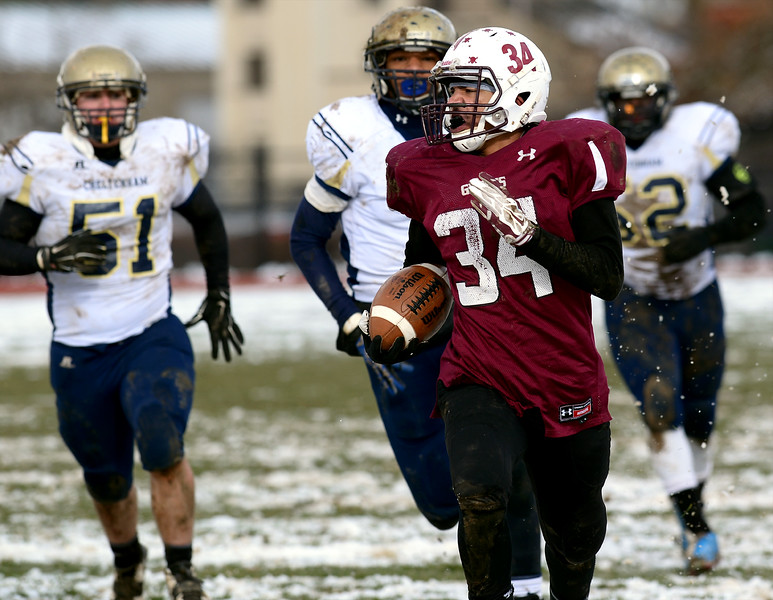 Abington's Mike Brooks takes a long romp to the endzone only to be called back on a penalty during the Thanksgiving Day game with Cheltenham in Schwartzman Stadium Nov. 28, 2014, postponed from Thursday.<br /> Bob Raines-Digital First Media