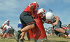 Members of the Souderton Area High School  football team at morning  practice on Monday, Aug. 11, 2014. (Geoff Patton/The Reporter)