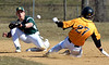 Bob Raines--Montgomery Media<br /> Archbishop Wood's Tom Rosenbaum steals second base as Nick Smalley loses control of the ball April 1, 2015.