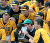 Bob Raines--Montgomery Media<br /> Archbishop Wood players crowd around the 2015 AAA District 12 AAA Championship plaque after their 9-1 victory over Franklin Towne Charter May 28, 2015.