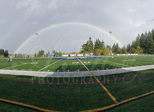 Double rainbow to start the JV game!!