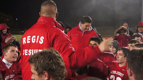 Coach Nolan Leads Raiders in Prayer, and Introduces the New Regis Raider's Fight Song, After Their 14 - 0 Homecoming Shutout Victory! YesterdaysPhotos comMAH06724