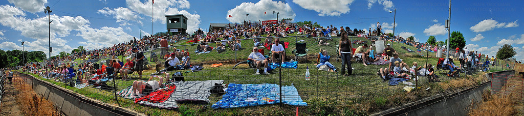 Several photographs are stitched together to make a panoramic image of the west-side spectator grounds at Corcoran Lions Park Saturday during the Hamel Rodeo.