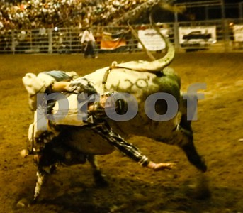 Bull rider bucked off one mean bull