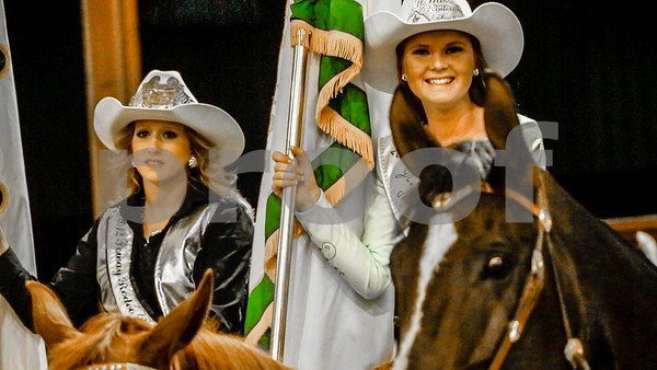 Two Beautiful Cowgirls wait to parade at the Norco PRCA Rodeo in California, Aug 2012