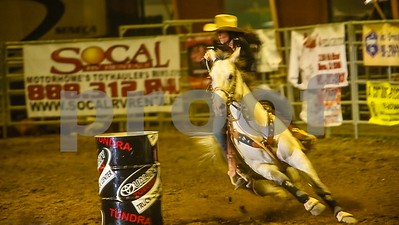 Barrel Racer competes at the Norco PRCA Rodeo in Aug, 2012
