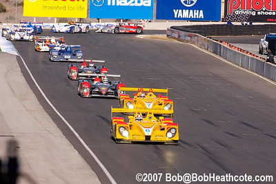 The field went under yellow on lap one to get Bryan Herta started again