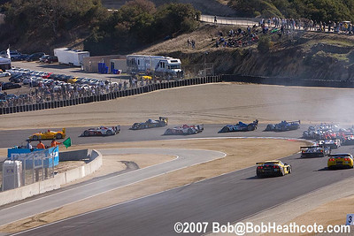 Race start at Turn 2, and Bryan Herta is spinning