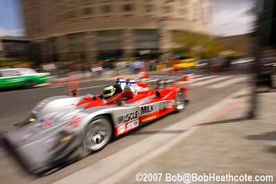 """Klaus Graf """"races"""" around Plaze de Cesar Chaves in downtown San Jose"""