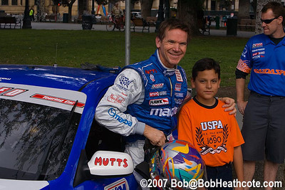 World Challenge driver Randy Probst takes a moment with a fan