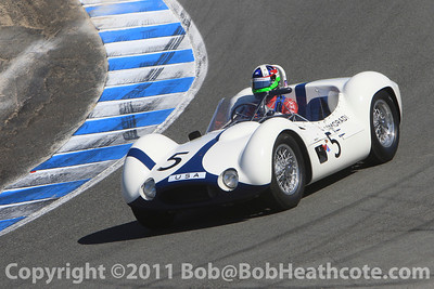 Dan Gurney honored, Dario Franchitti driving a Birdcage Maserati that Gurney once raced at Rolex Monterey Monterey Reunion 2010