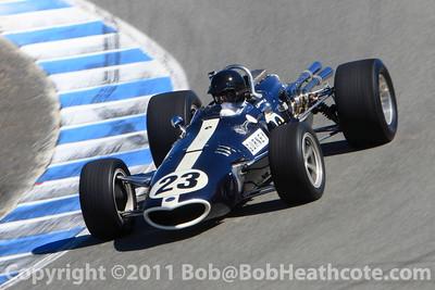 Alex Gurney, son of Dan Gurney, drives his fathers Formula 1 1967 Belgian Grand Prix race winner Eagle-Westlake at Rolex Monterey Monterey Reunion 2010