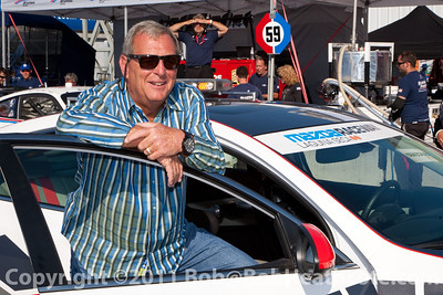 Golf great Fuzzy Zoeller is beaming after riding around Mazda Raceway Laguna Seca in a pace car driven by Scott Pruett