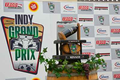 Indy Grand Prix of Sonoma trophy in Winners Circle