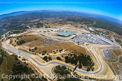 Helicopter shot above Continental Tire Sports Car Festival, powered by Mazda at Mazda Raceway Laguna Seca