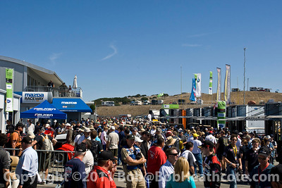 Fans in the paddock area before the 2011 ModSpace American Le Mans Monterey presented by Patrón