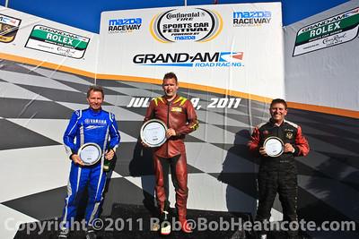 Race podium celebration for Superstarts of Superkarts