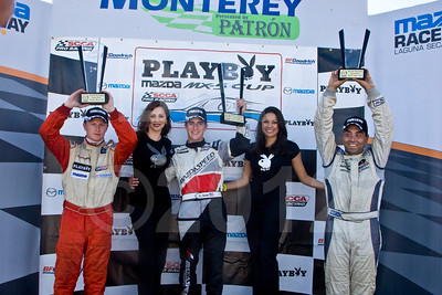 Elliott Skeer, (middle) winner, Mazda MX-5 Cup Friday race
