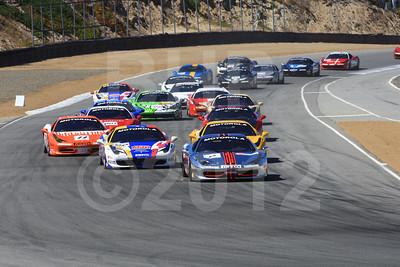 Race start 2012 Ferrari Racing Days at Mazda Raceway Laguna Seca by Bob Heathcote