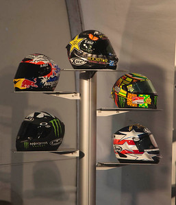 MotoGP helmets, top to bottom: Jorge Lorenzo, Casey Stoner; Valentino Rossi, Ben Spies and Colin Edwards