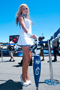 Umbrella girl for Yamaha Factory Racing