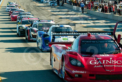 Rolex Grand-Am cars staged for morning warmup