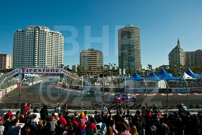 Fans packed the fence-line to watch the drifting