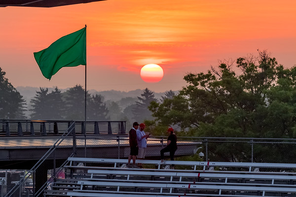 Fans enjoying the sunrise on the morning of the 101st Running of the Indy 500.