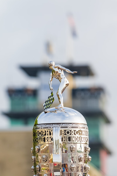 Borg-Warner Trophy backdropped by the Pagoda at the Indianapolis Motor Speedway