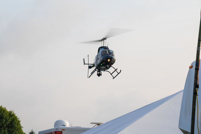 State police helicopter landing in the Indianapolis Motor Speedway infield