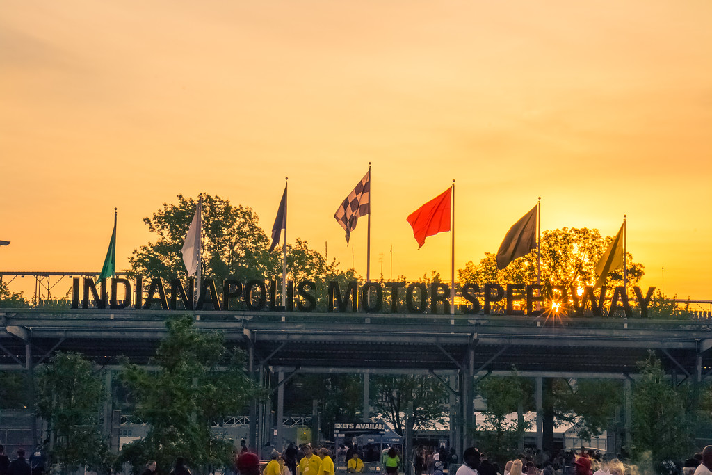 The sun rising over Gate 1 at the Indianapolis Motor Speedway