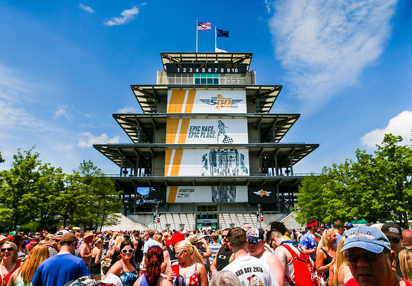 Fans around the Pagoda at the 100th Running of the Indy 500.