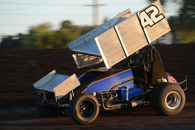 Chase Majdic holds his lead to win the second heat of Points Race No. 12 on Friday, July 29, 2016, at the Silver Dollar Speedway in Chico, California. (Dan Reidel -- Enterprise-Record)