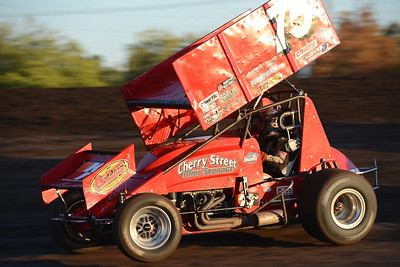 Sean Becker took the fastest qualifying time with a 11.986 second lap, but came in third Friday, July 29, 2016, in the first heat of Points Race No. 12 at the Silver Dollar Speedway in Chico, California. (Dan Reidel -- Enterprise-Record)