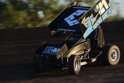 Kalib Henry takes second place in the first heat of Points Race No. 12 on Friday, July 29, 2016, at the Silver Dollar Speedway in Chico, California. (Dan Reidel -- Enterprise-Record)