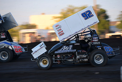 Andy Forsberg (92) is second in the standings, trailing Sean Becker (not pictured) by just 13 points but leading the rest of the field including Mason Moore (22) even though he can't pass the young driver in Points Race No. 12 on Friday, July 29, 2016, at the Silver Dollar Speedway in Chico, California. (Dan Reidel -- Enterprise-Record)