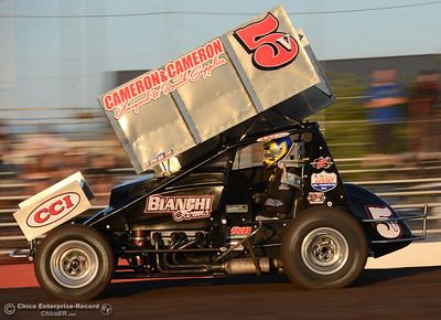 360 sprint cars, sport modifieds, street stocks and hobby stocks compete Friday, Aug. 5, 2016, during Points Race No. 13 at the Silver Dollar Speedway in Chico, California. (Dan Reidel -- Enterprise-Record)