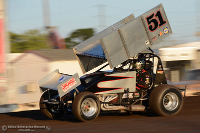 Gary Paulson (51) wins the first 360 sprint car heat Friday, Aug. 5, 2016, during Points Race No. 13 at the Silver Dollar Speedway in Chico, California. (Dan Reidel -- Enterprise-Record)